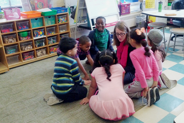 Carrie Sorensen with students